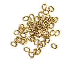 Nunn Design Antique Gold (plated) Textured Oval Jump Ring 6x5mm, 16 gauge