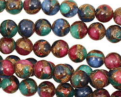 Jewel Tone Mosaic Stone Round 8mm