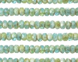 Czech Glass Sunlit Seaweed Fire Polished Rondelle 3x5mm