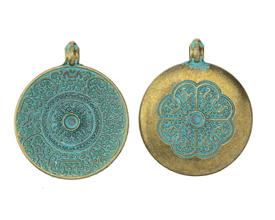 Zola Elements Patina Green Brass (plated) Tibetan Style Decorative Coin Focal 38x45mm