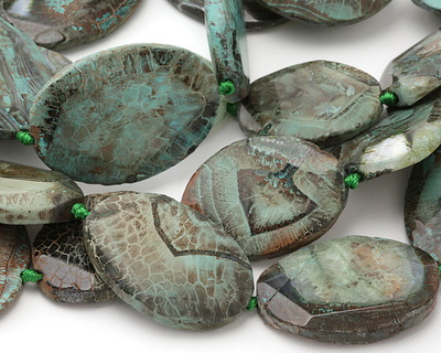 Lagoon Line Agate Faceted Flab Oval 45-55x30-40mm