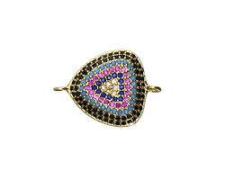 Mirage Mix Pave CZ Gold (plated) Triangle Focal Link 22x17mm