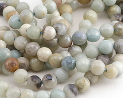 Black Gold Amazonite w/ AB Luster Faceted Round 6mm