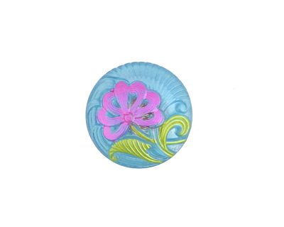 Czech Glass Azure w/ Pink Single Flower Button 18mm