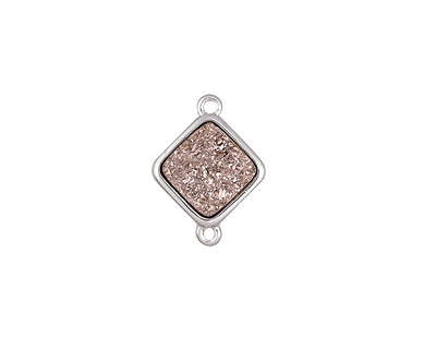 Metallic Bronze Crystal Druzy Diamond Link in Silver Finish Bezel 16x12mm