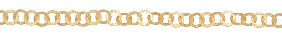 Satin Hamilton Gold (plated) Patterned Rings Flat Cable Chain
