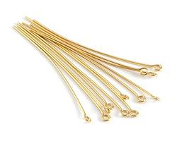 """Gold (plated) Eye Pin 2"""", 21 gauge"""