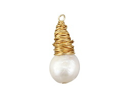 Freshwater Pearl Round Gold Finish Wire-Wrapped Teardrop Pendant 12-14x27-28mm