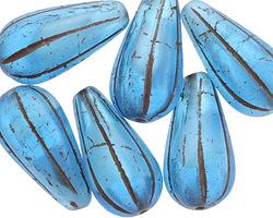 Czech Glass Aquamarine Waters Melon Teardrop 23x12mm