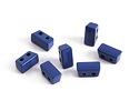 Navy Blue Enamel 2-Hole Tile Thin Rectangle Bead 4x8mm