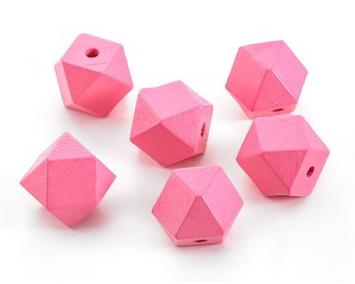 Pink Grapefruit Wood Faceted Nugget 20mm