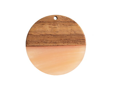 Walnut Wood & Blossom Pearlescent Resin Coin Focal 38mm