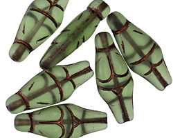 Czech Glass Bronzed Matte Prairie Green Goddess 25x10mm