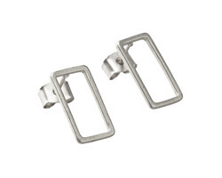 Satin Rhodium (Plated) Open Rectangle Post Earring w/Back