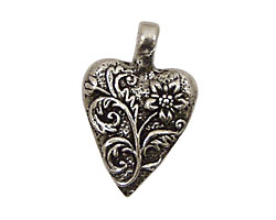 Green Girl Pewter Floral Heart 20x30mm