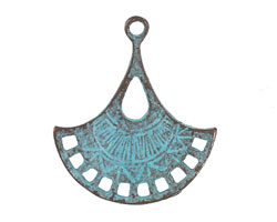 Greek Copper Patina Fan Drop Pendant 26x30mm