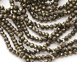 Golden Pyrite Diamond Cut Faceted Round 3mm