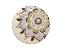 Golem Studio Retro Dahlia Carved Ceramic Circle Pendant 45mm