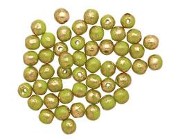 Czech Glass Olivine w/ Gold Marble Round Druk 4mm