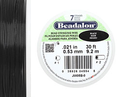 "Beadalon Black .021"" 7 Strand Wire 30ft."