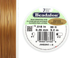 "Beadalon Satin Gold .018"" 7 Strand Wire 30ft."