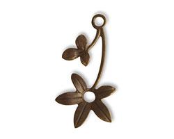 Vintaj Natural Brass Violet Sprig Connector 30x15mm