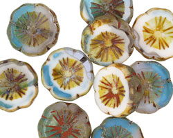 Czech Glass Capri/White Picasso Hibiscus Coin 15mm