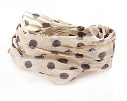 Ivory w/ Polka Dots 100% Silk Sari Ribbon