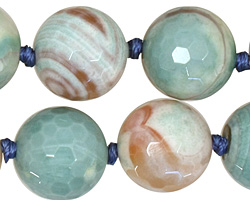 Ocean Blue Agate Faceted Round 18mm