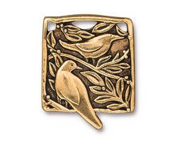 TierraCast Antique Gold (plated) Botanical Bird Pendant 23x29mm