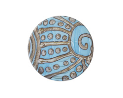 A Beaded Gift Silvered Turquoise Tribal Swirl Glass Large Focal 31-33mm