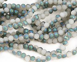 Matte White Opal w/ Blue AB Crystal Faceted Rondelle 4mm