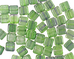 Czech Glass Dual Coated Blueberry/Green Tea Square 6mm