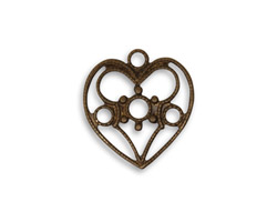 Vintaj Natural Brass Delicate Heart Charm 18x20mm