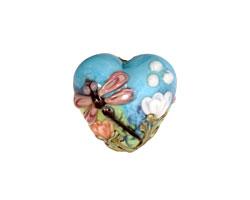 Grace Lampwork Purple Dragonfly w/ Orange Flora Heart 19-20mm