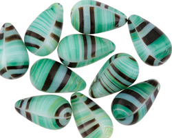 Czech Glass Mint Chocolate Teardrop 9x15mm