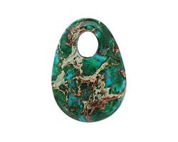 Dark Emerald Impression Jasper Flat Oval Pendant 25x35mm