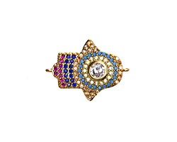 Jewel Tone Mix Pave CZ Gold (plated) Hamsa Focal Link 22x16mm
