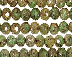 Czech Glass Moss Quartz Picasso Fire Polished Rondelle 6x9mm