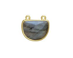 Labradorite Faceted Half Moon w/ Gold Finish Bezel Focal 17x16mm