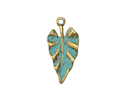 Zola Elements Patina Green Brass (plated) Heart Leaf Pendant 14x29mm