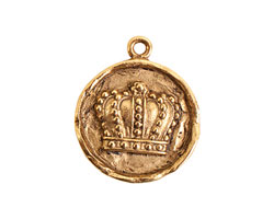 Nunn Design Antique Gold (plated) Small Round Crown Charm 21x24mm