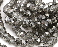 Metallic Hematite (w/ etched facets) Crystal Faceted Rondelle 8mm