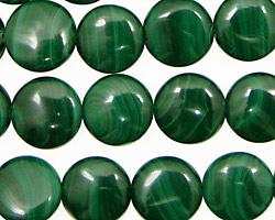 Malachite Puff Coin 12mm