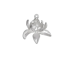 Matte Silver (plated) Bloom Charm 19mm