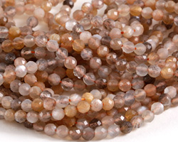Moonstone (multi-gray) Faceted Round 4mm