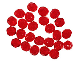 Czech Fire Polished Glass Siam Ruby Round 6mm