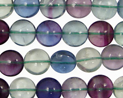 Blue Rainbow Fluorite (A) Puff Coin 10mm