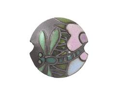 Golem Studio Green Dragonfly Carved Ceramic Lentil 23mm