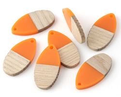 Wood & Tangerine Resin Teardrop Focal 16x31mm